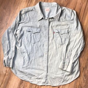 Levi's Light Wash Distressed Pearl Snap Top 3X